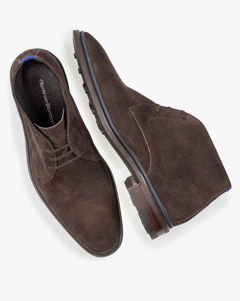 Lace boot suede leather brown