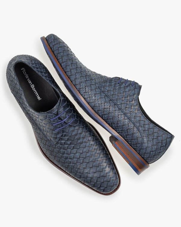 Lace shoe blue nubuck leather