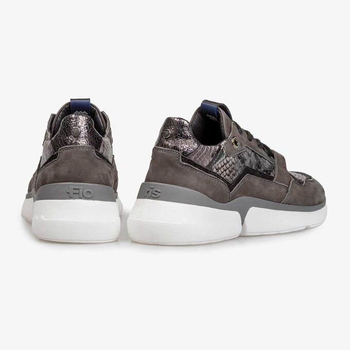 Dark grey suede leather sneaker with snake print