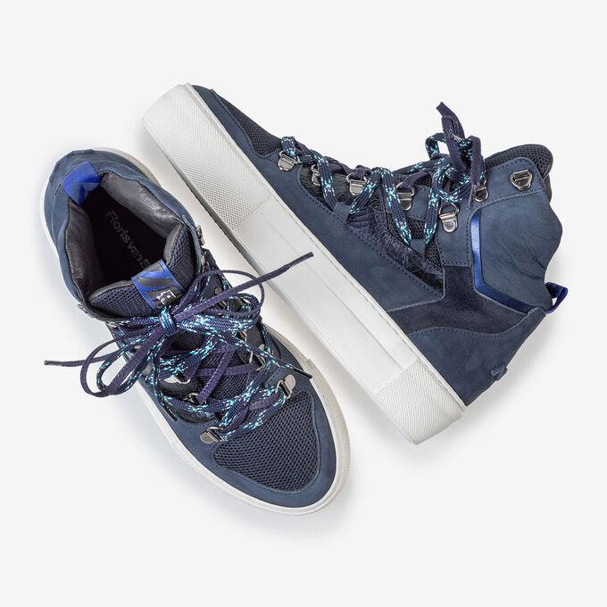 Mid-high sneaker nubuck leather blue