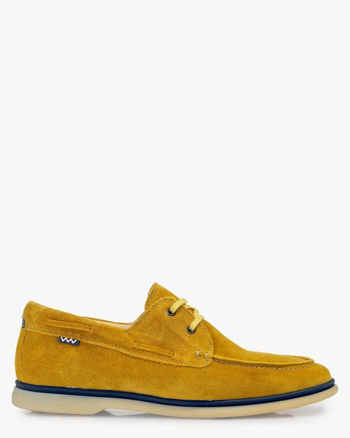 Boat shoe suede leather yellow