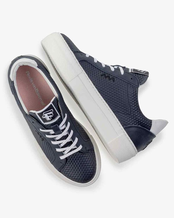 Sneaker printed leather blue