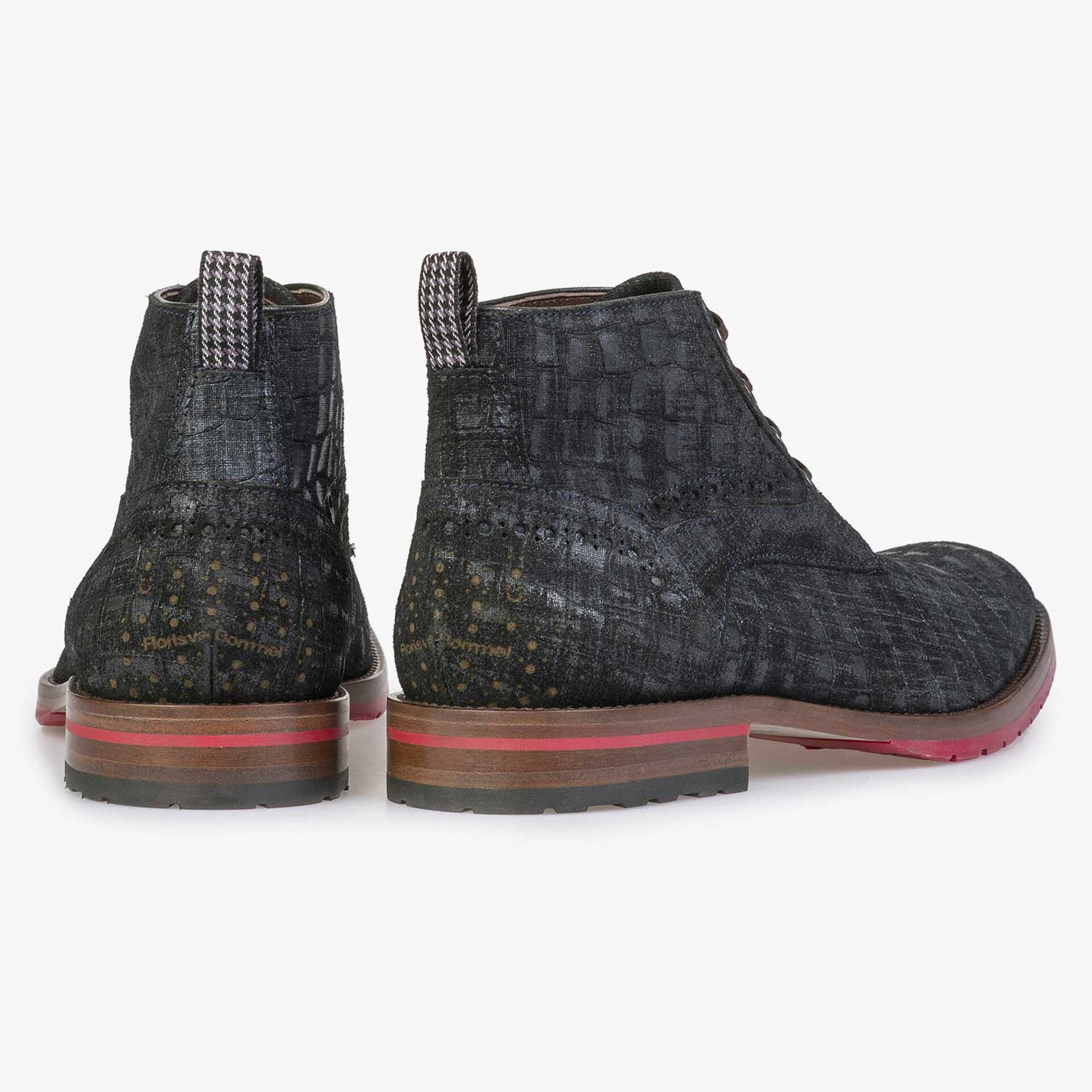 Blue suede leather lace boot with a check pattern