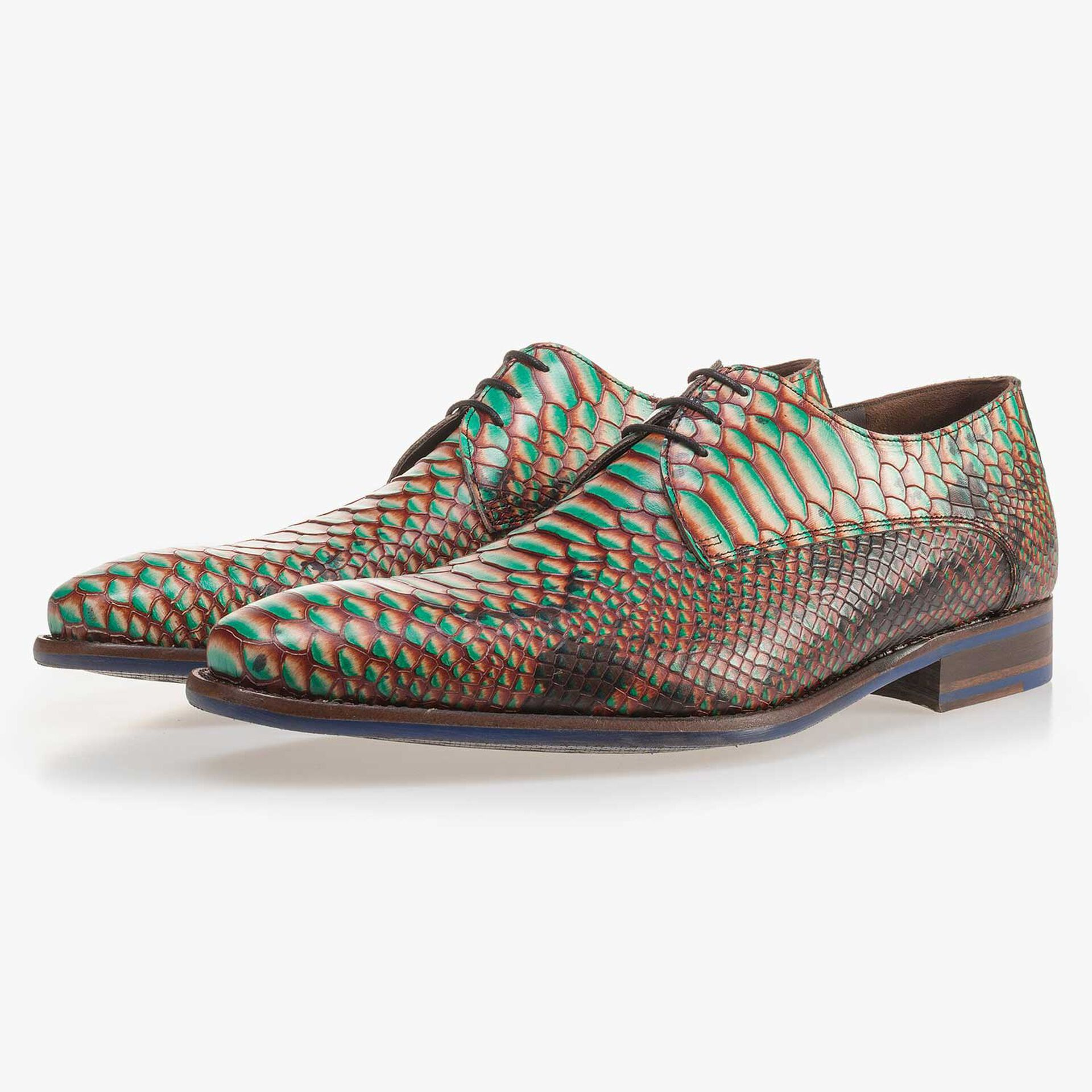 Green leather lace shoe with a snake print