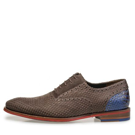 Brown nubuck leather lace shoe with snake print