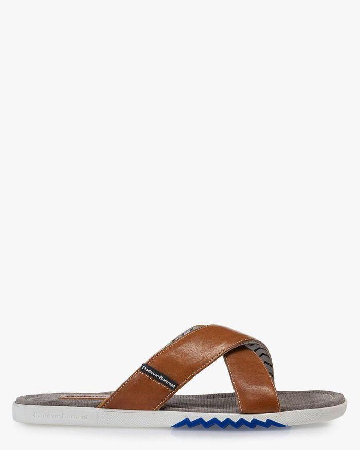 Slipper calf leather cognac