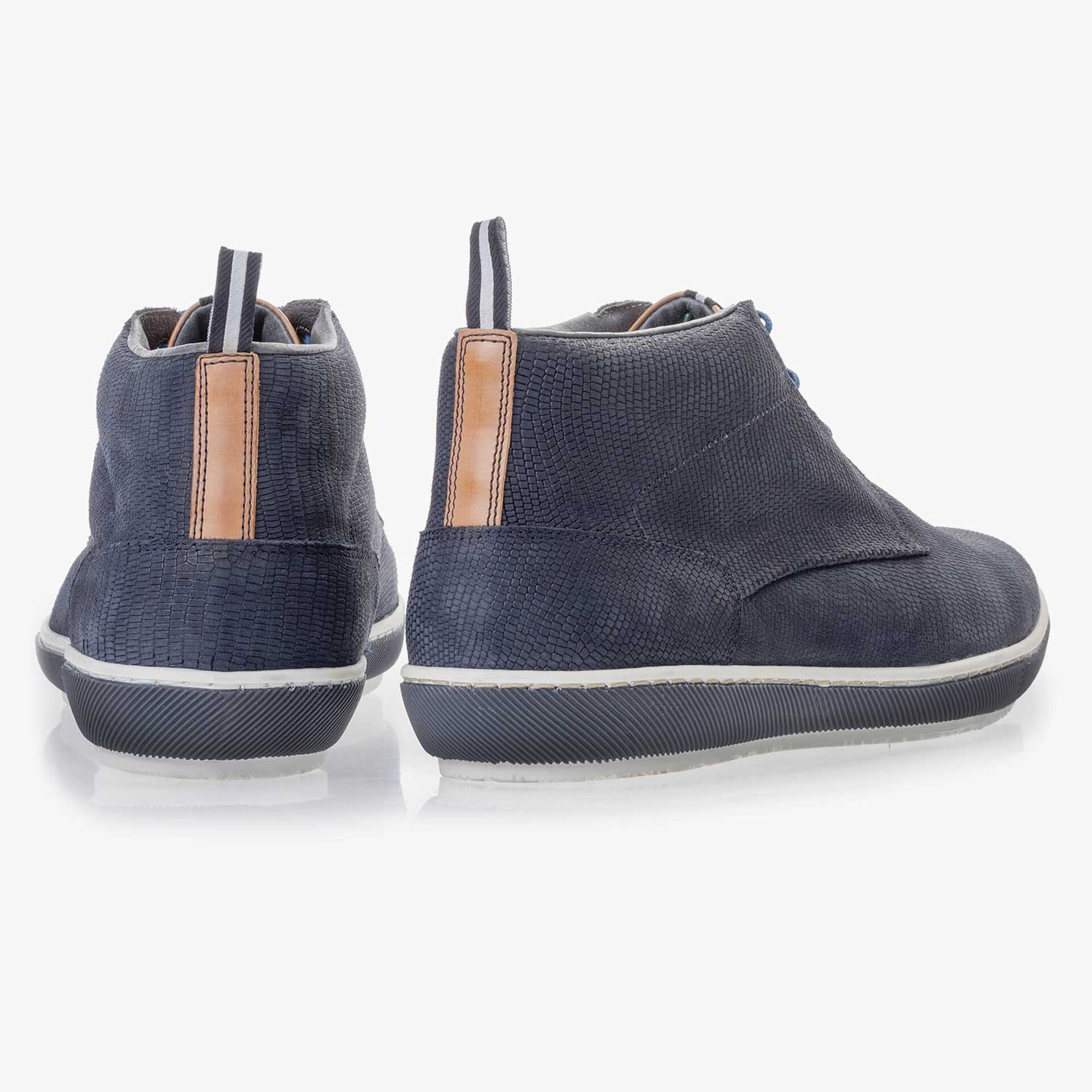 Blue, nubuck leather lace boot with pattern