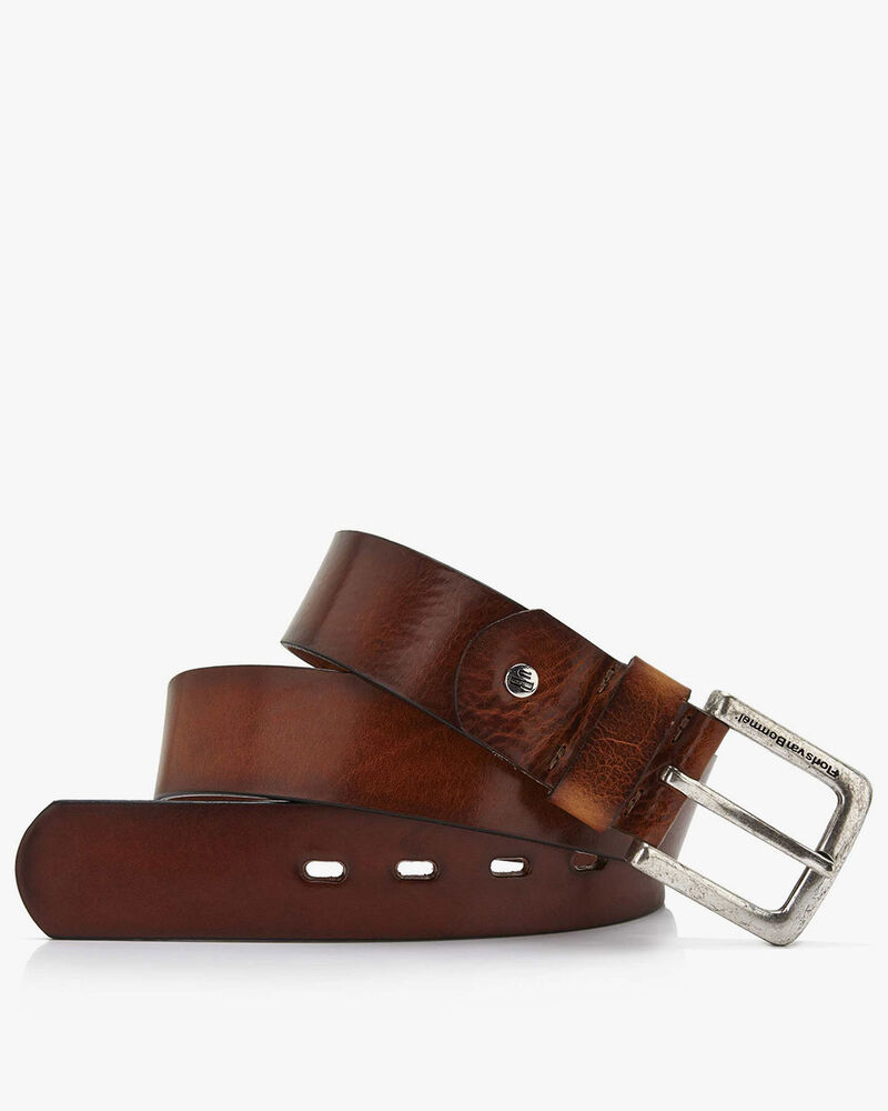 Floris van Bommel medium brown leather men's belt