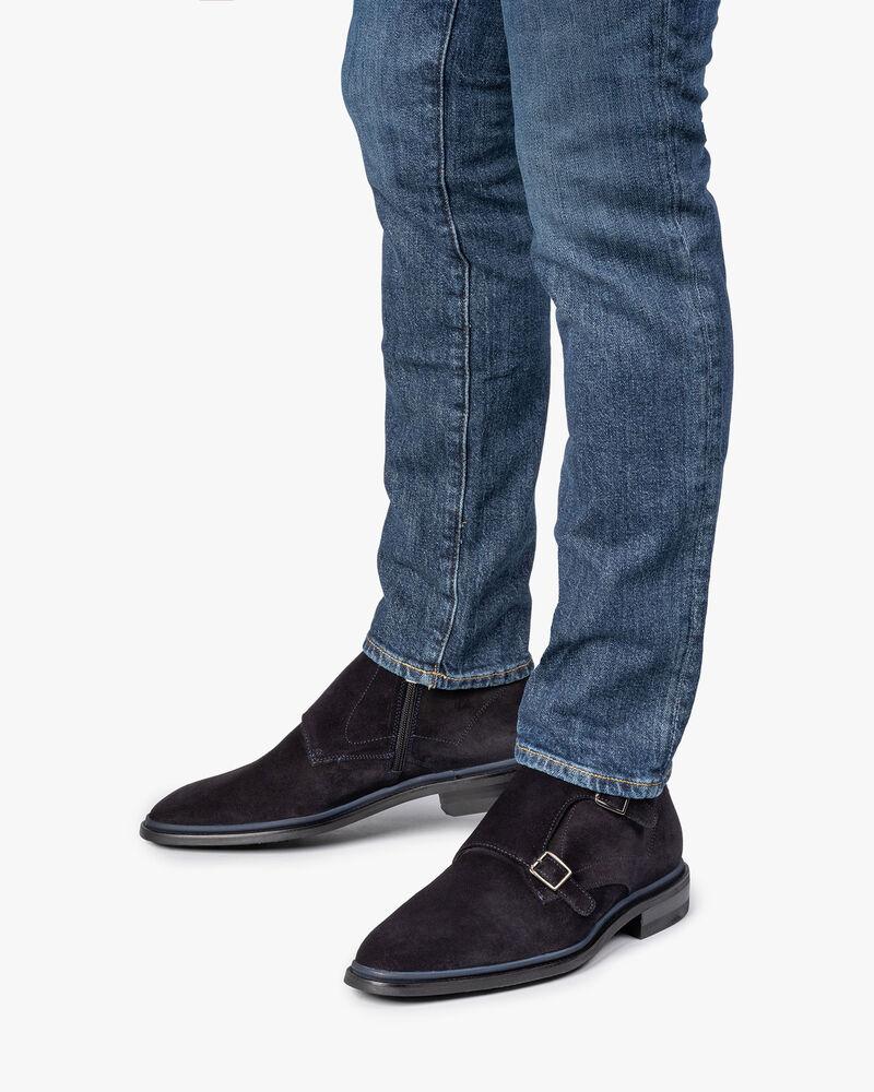 Dark blue calf leather monk strap