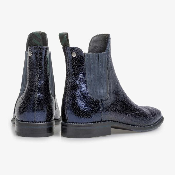 Dark blue leather Chelsea boot with metallic print