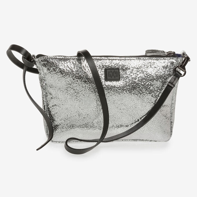 Silver leather bag with metallic print