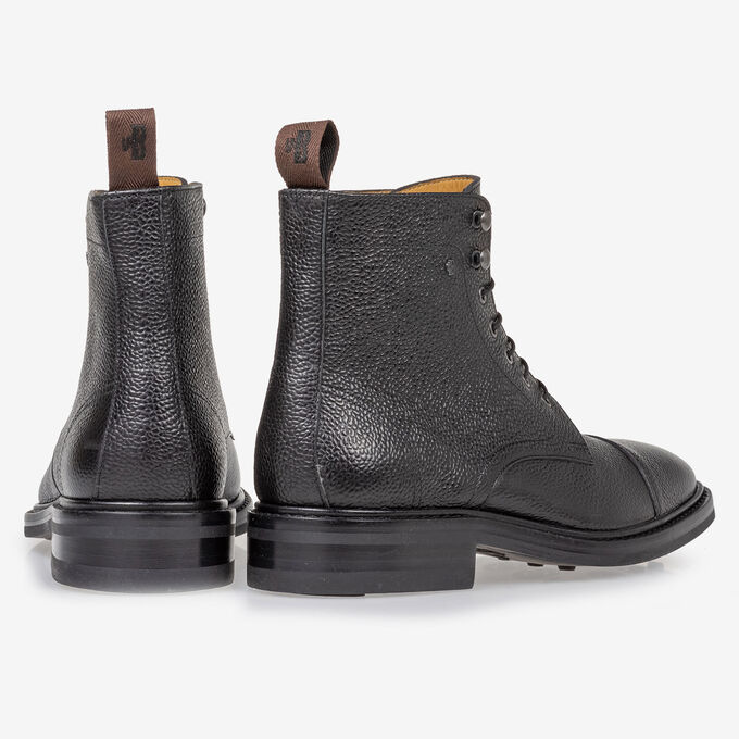 Boot leather with print black