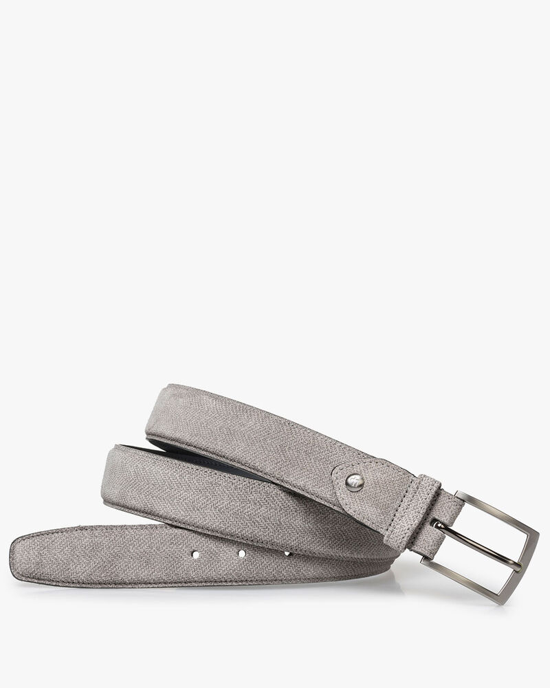 Light grey suede leather belt with print