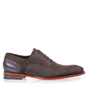 Lace shoe dark brown with print