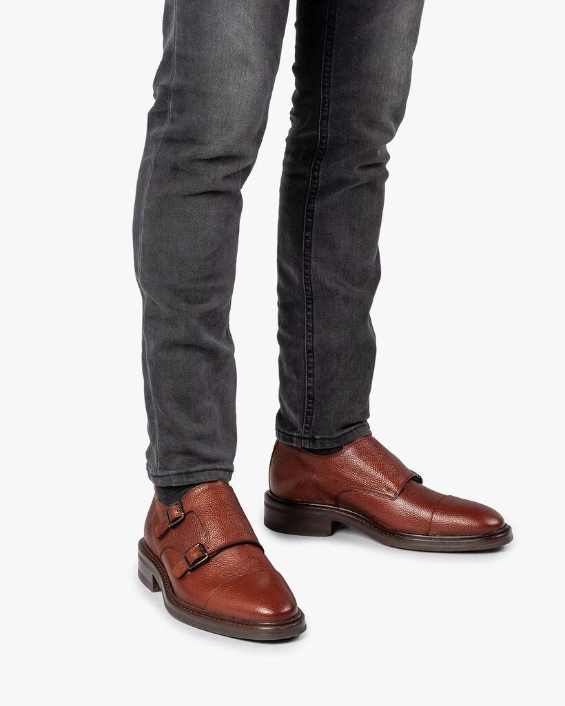 Cognac-coloured calf leather double monk