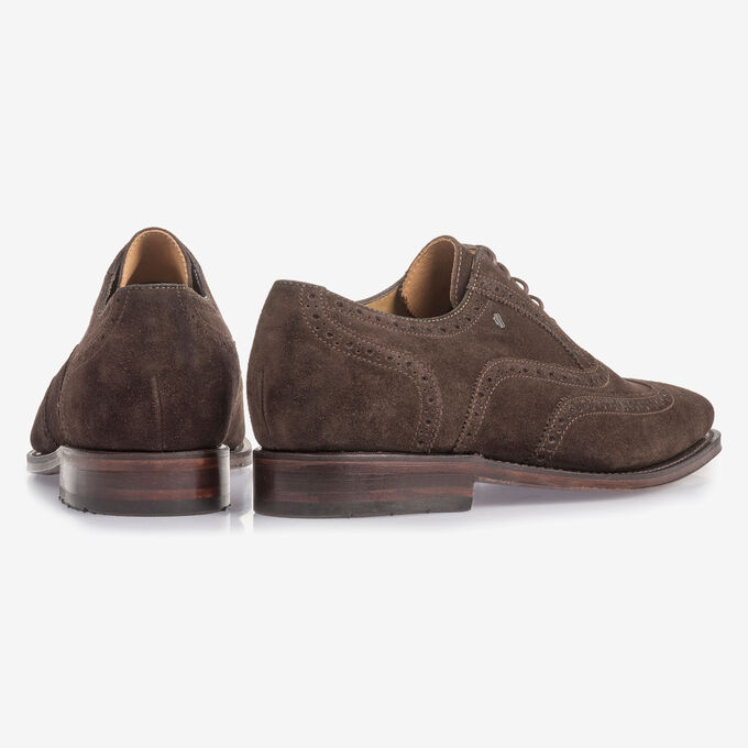 Dark brown suede leather brogue