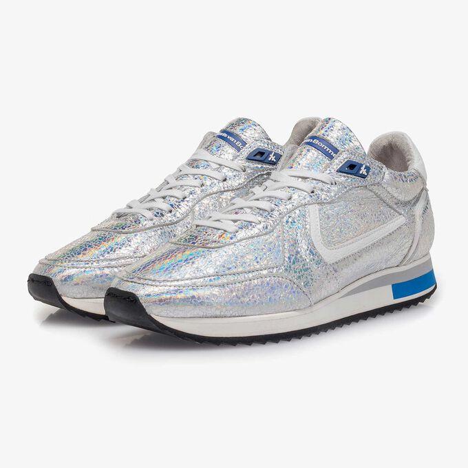 Silver metallic leather sneaker