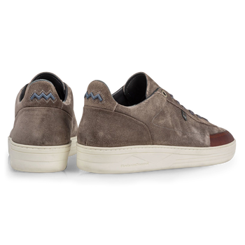 Sneaker suede leather dark taupe