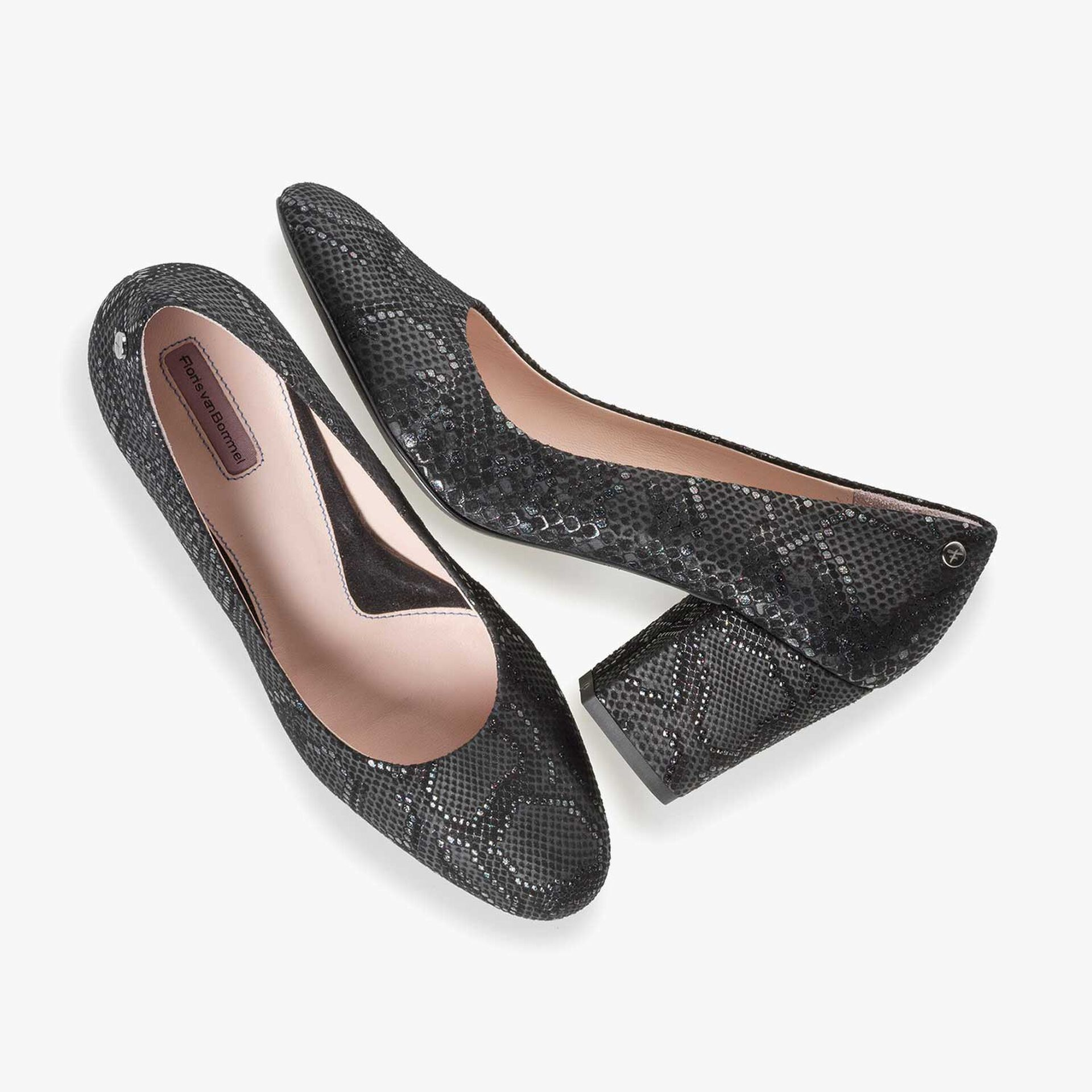 Black leather high heels with snake print