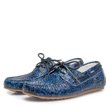 Snake print calf leather sailing shoe