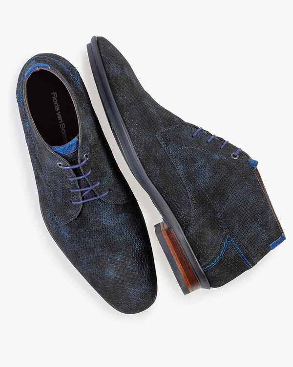 Lace boot blue with print