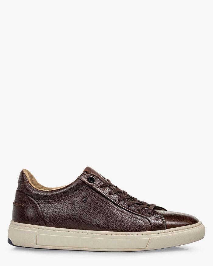 Sneaker printed leather brown