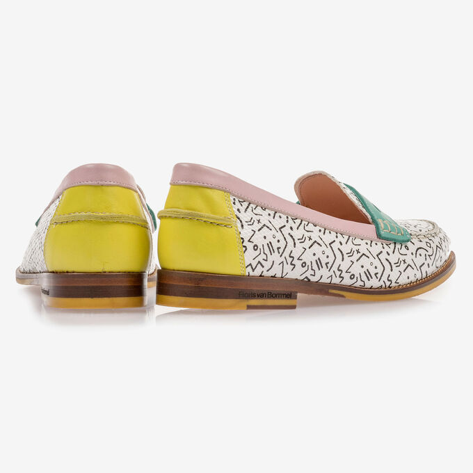 White loafer with black print