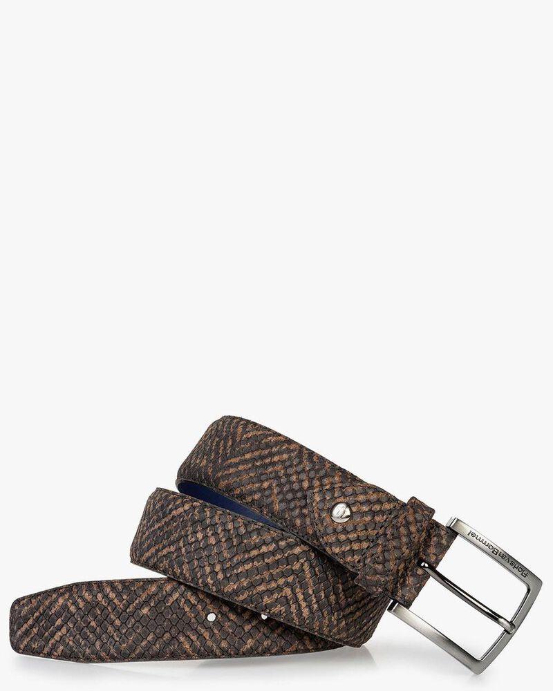Suede leather belt brown print