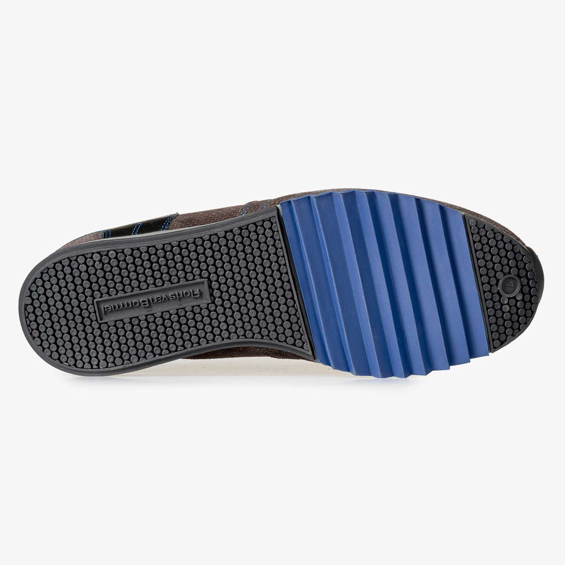 Grey-brown sneaker with cobalt blue details