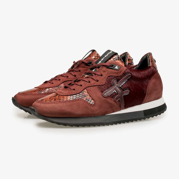 Bordeaux red leather sneaker with pony hair