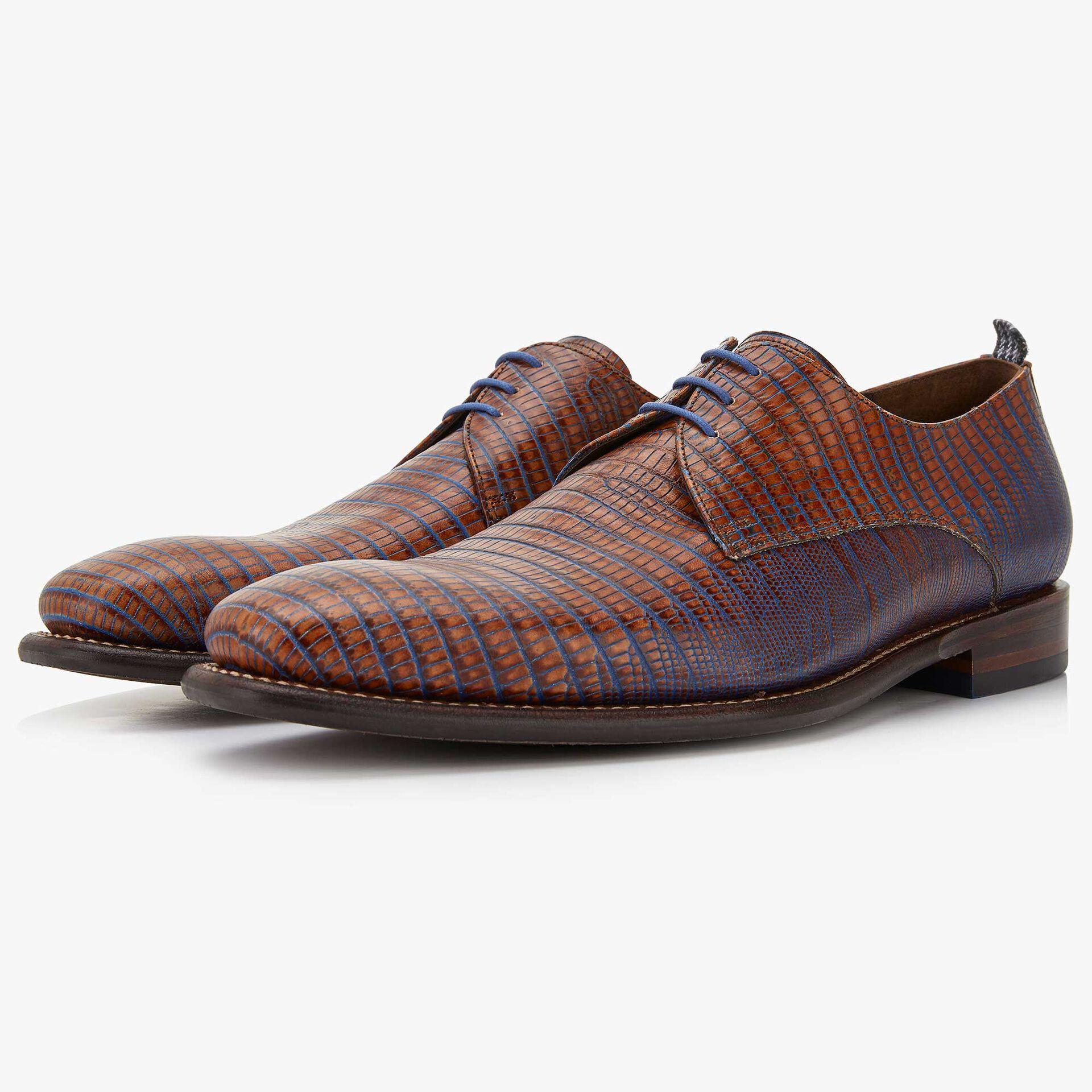 Floris van Bommel men's cognac-coloured leather lace shoe finished with a lizard print