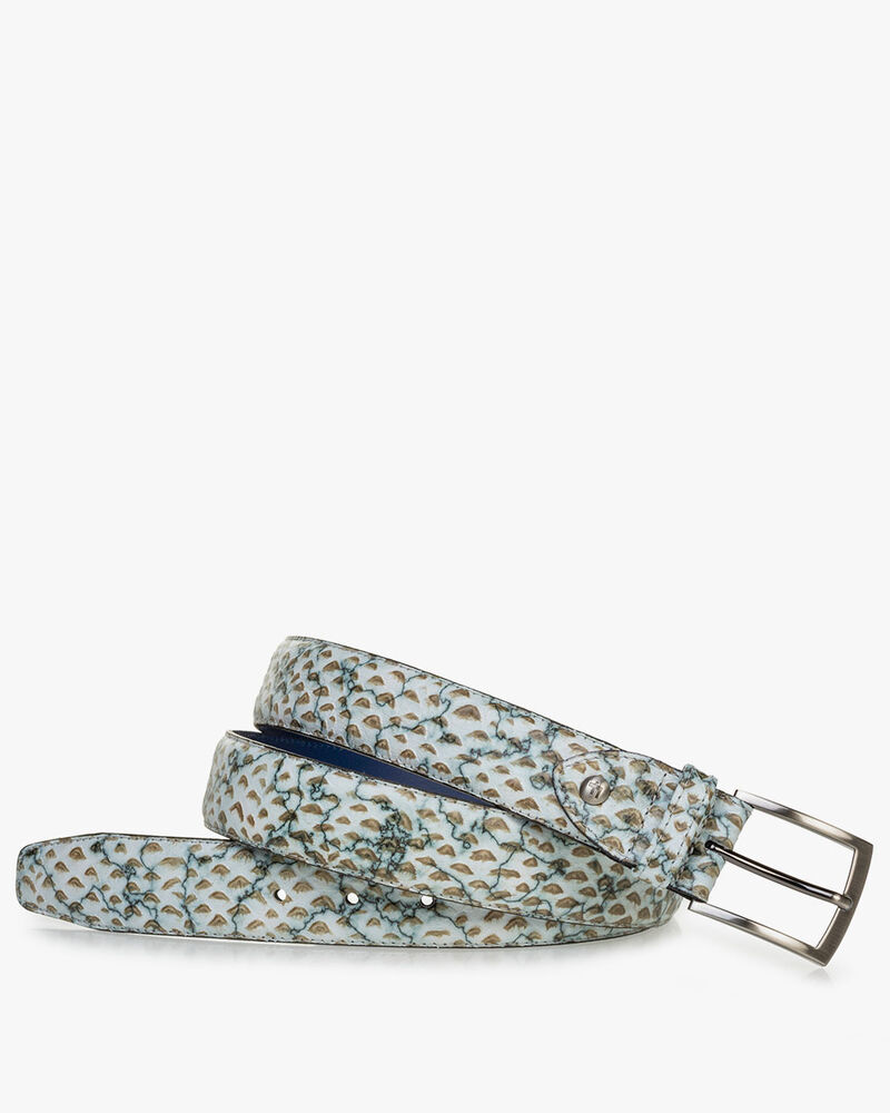 Belt printed leather sand-coloured