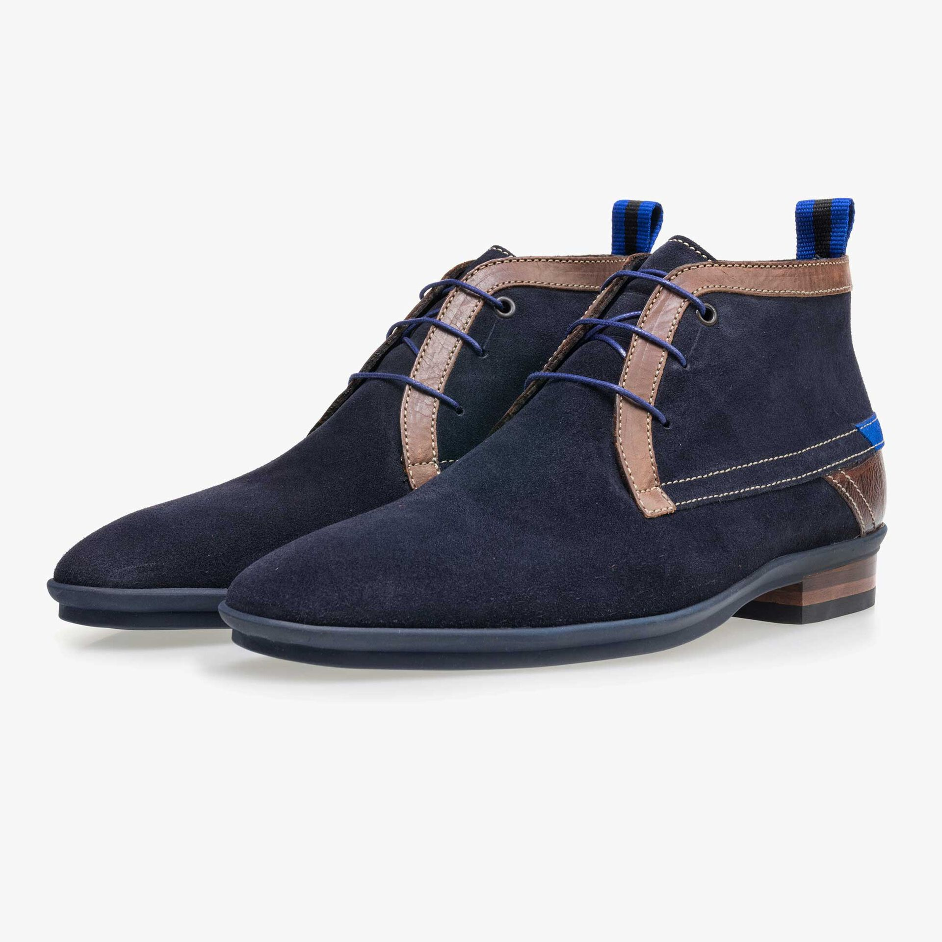 Dark blue mid-high suede leather lace boot