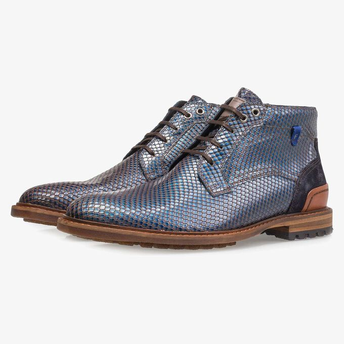Premium blue printed metallic leather lace shoe