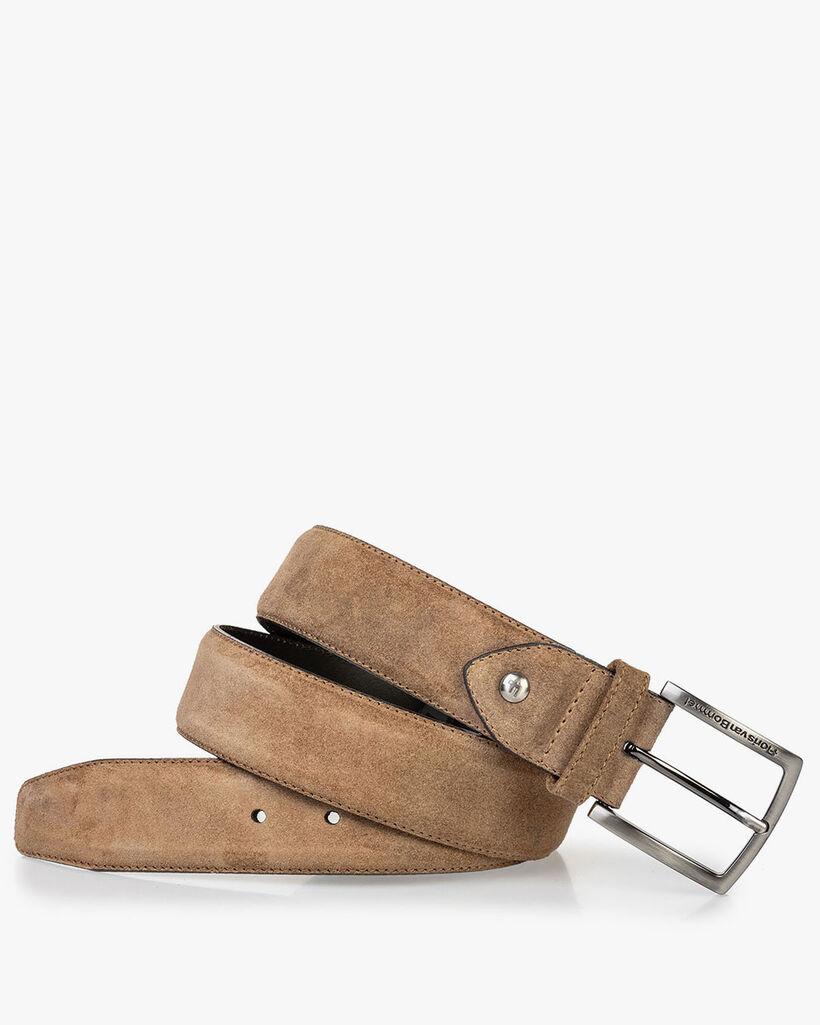 Suede leather belt cognac