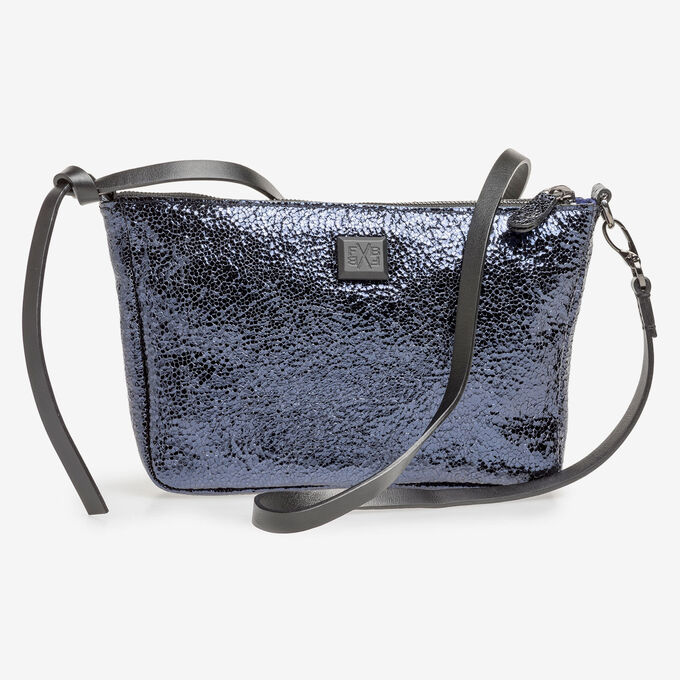 Dark blue leather bag with black print