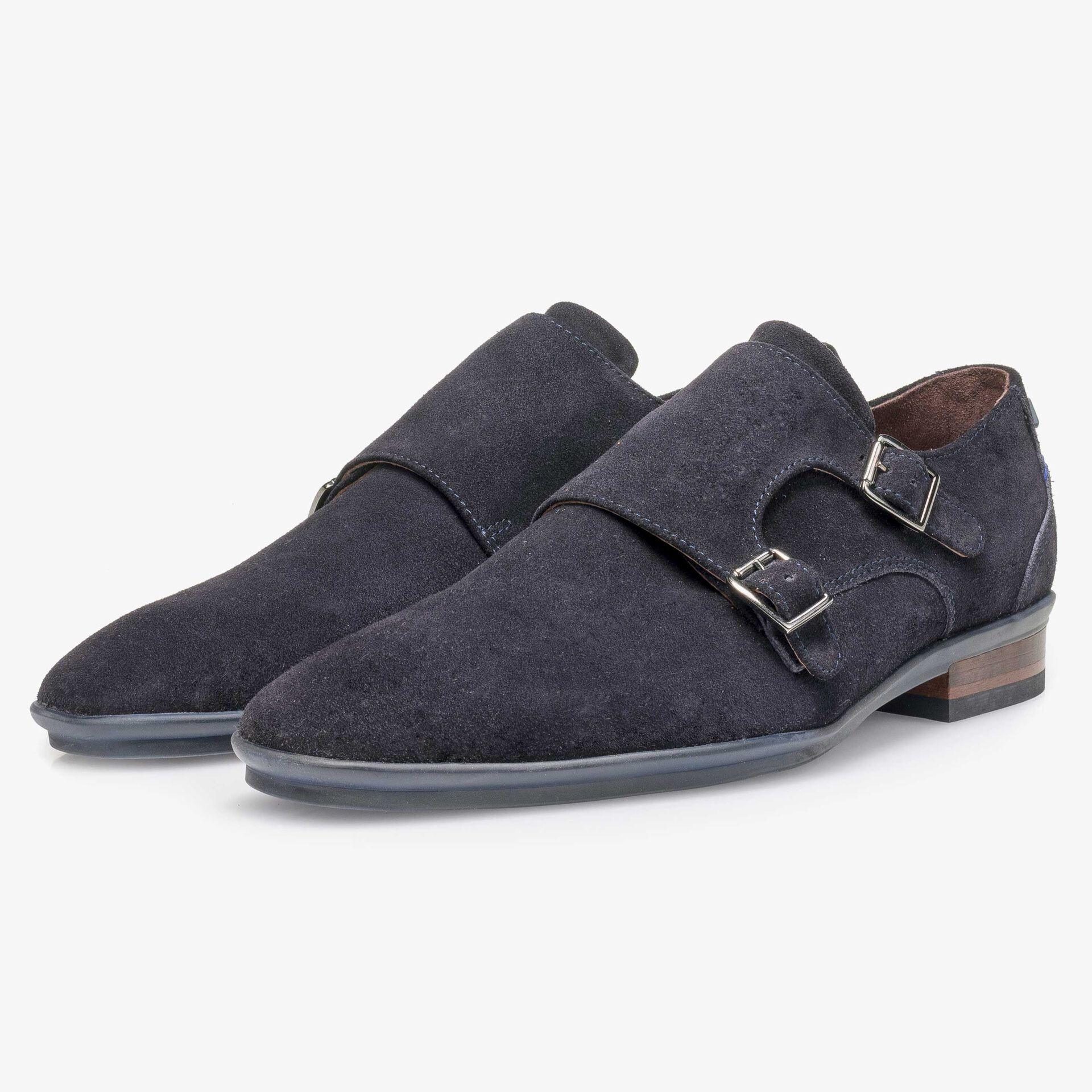 Blue calf suede leather double buckle monk strap