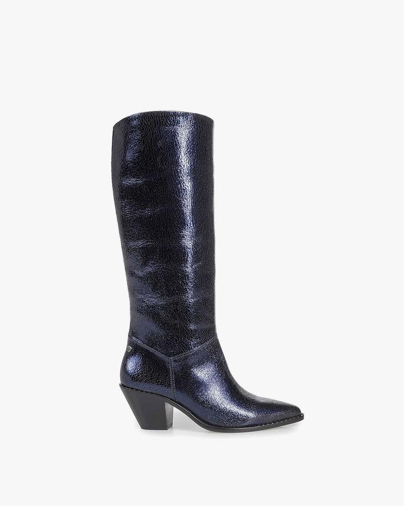 Dark blue boots metallic print