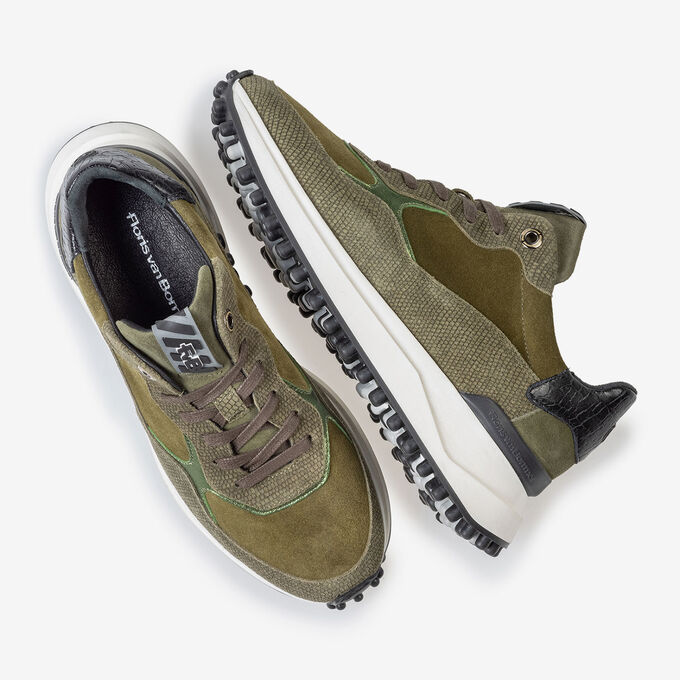 Noppi sneaker suede leather green