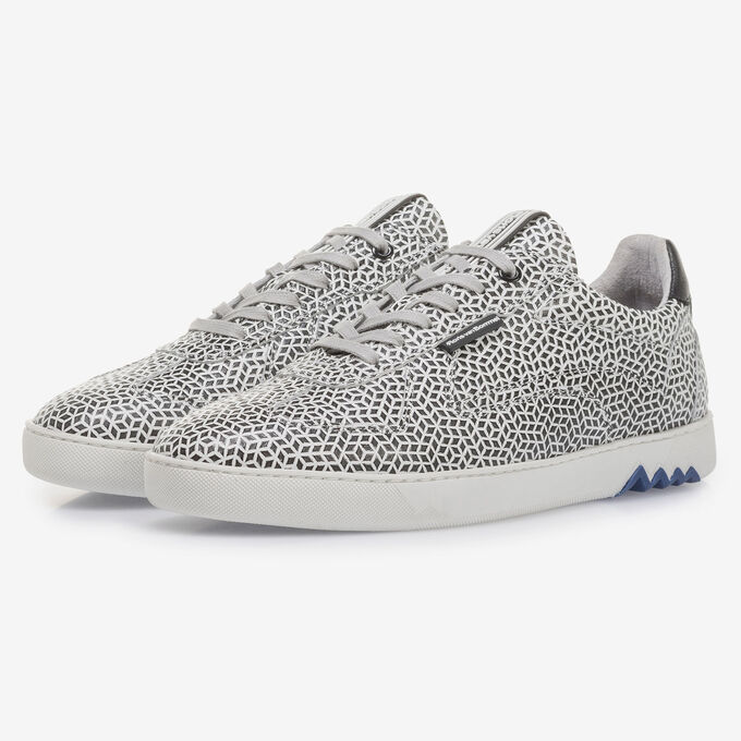 White calf leather sneaker with black print