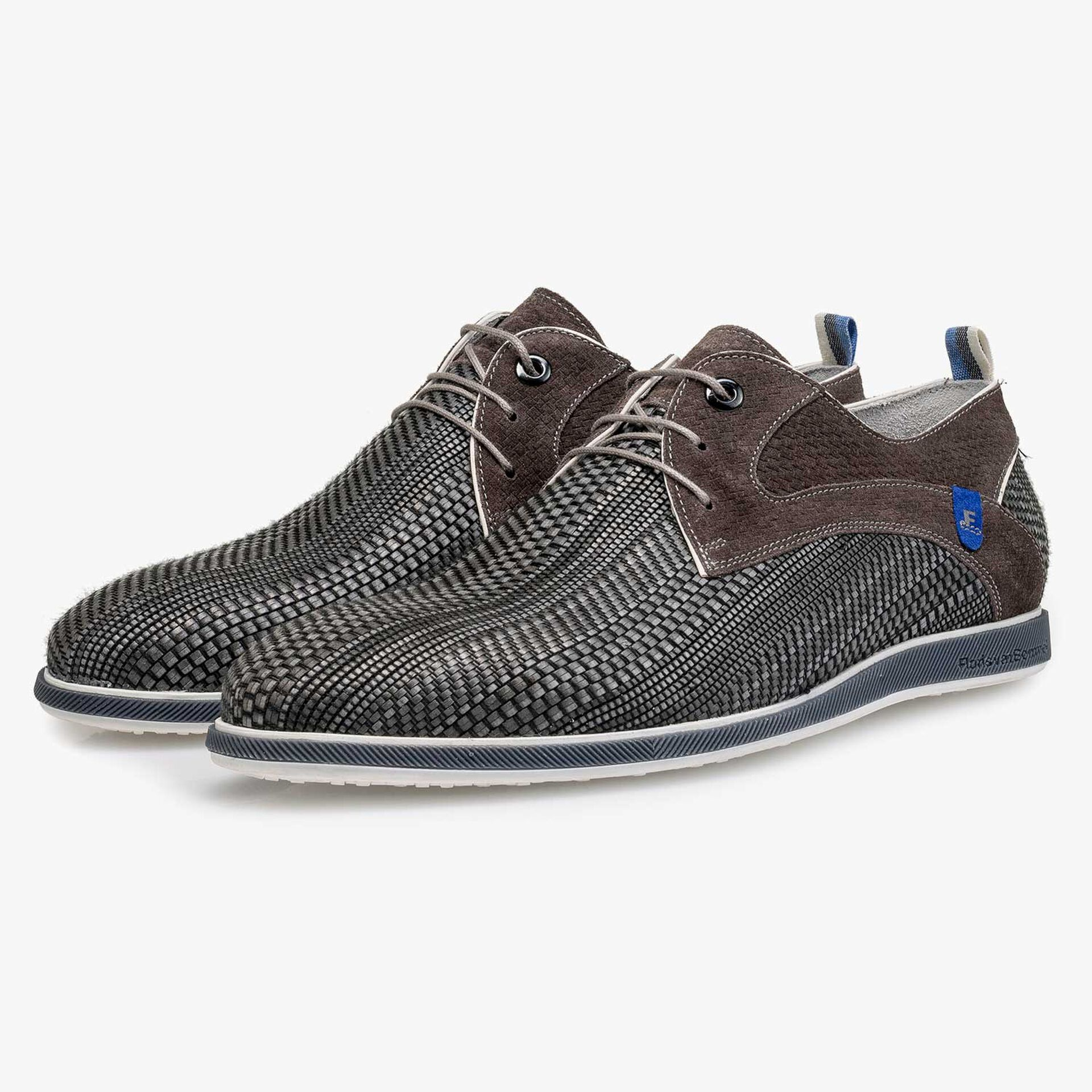Grey braided leather lace shoe