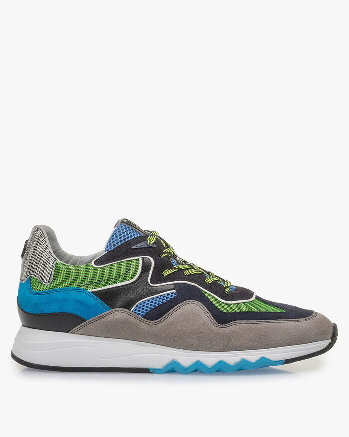 Multi-colour suede leather sneaker with green details