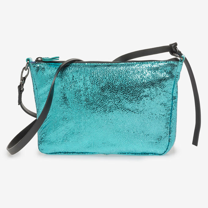 Light blue leather bag with metallic print