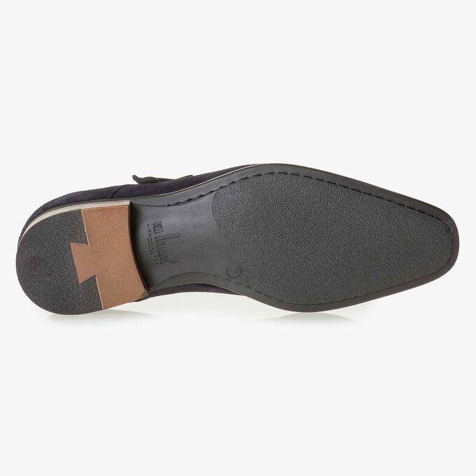Dark blue waxed suede leather monk strap