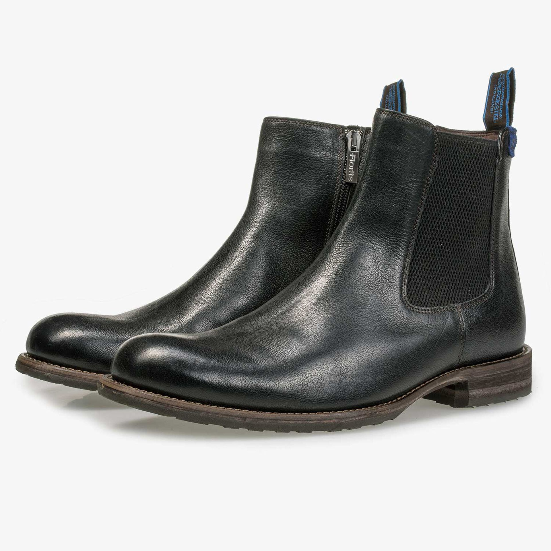 Black wool lined leather Chelsea boot