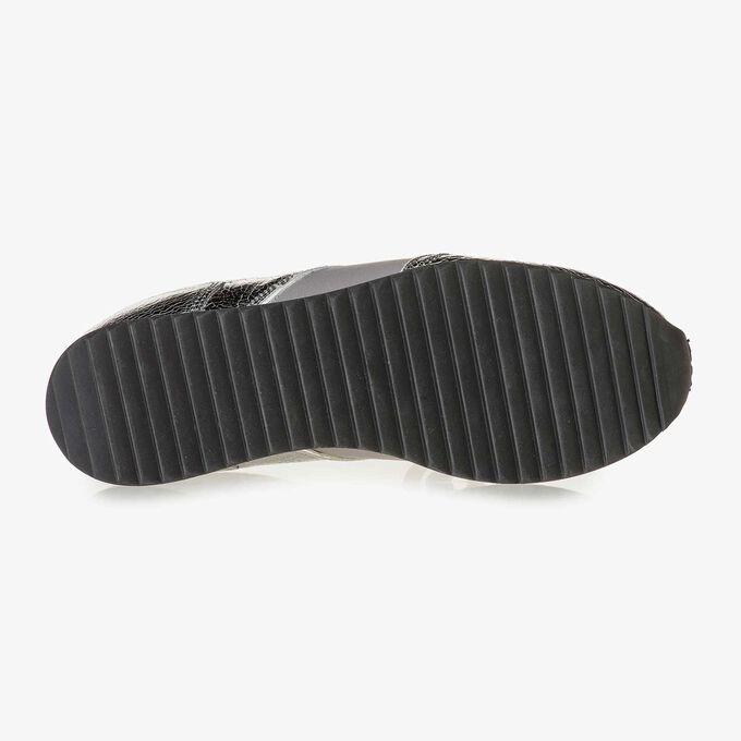 Dark silver metallic leather sneaker
