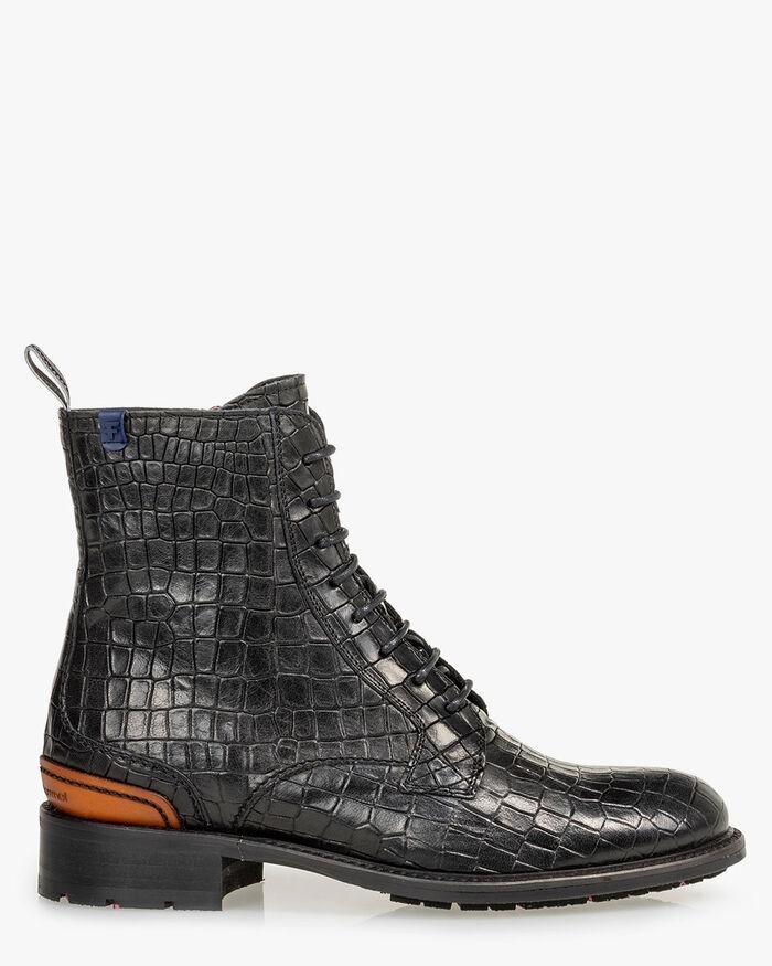 Lace boot reptile print black