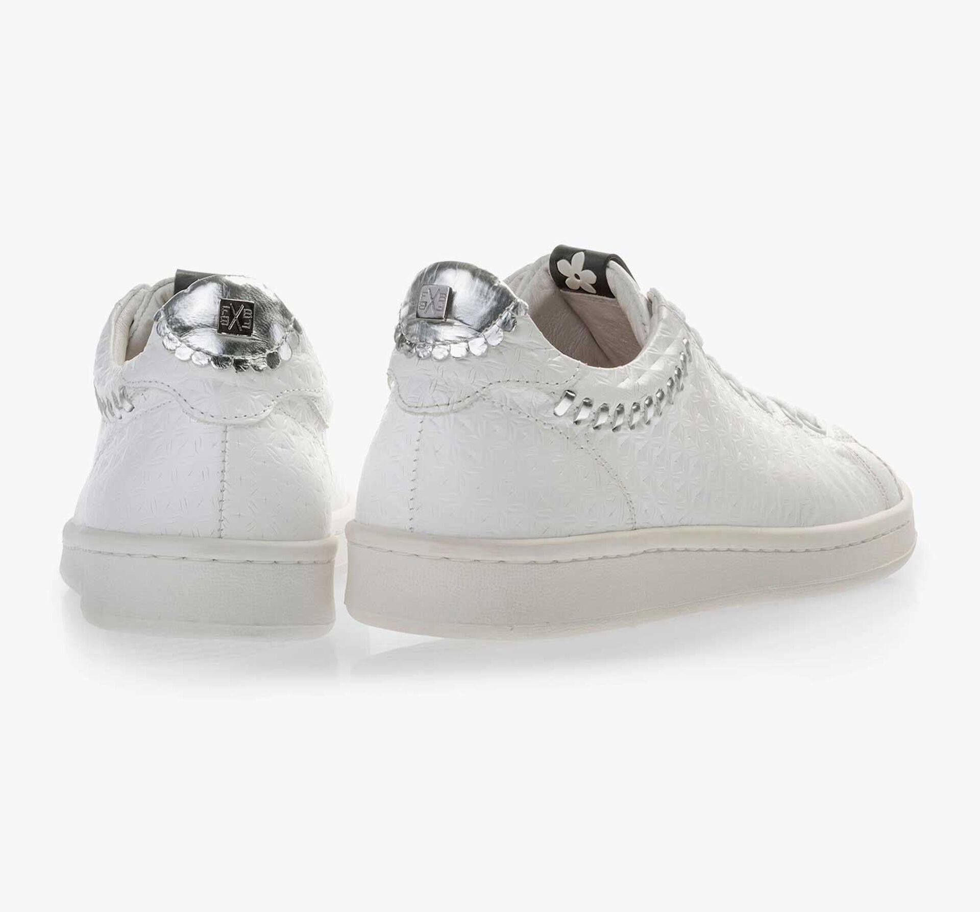White patterned leather sneaker