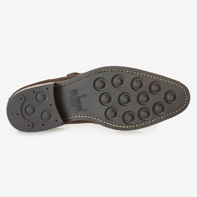 Dark brown suede leather monk strap