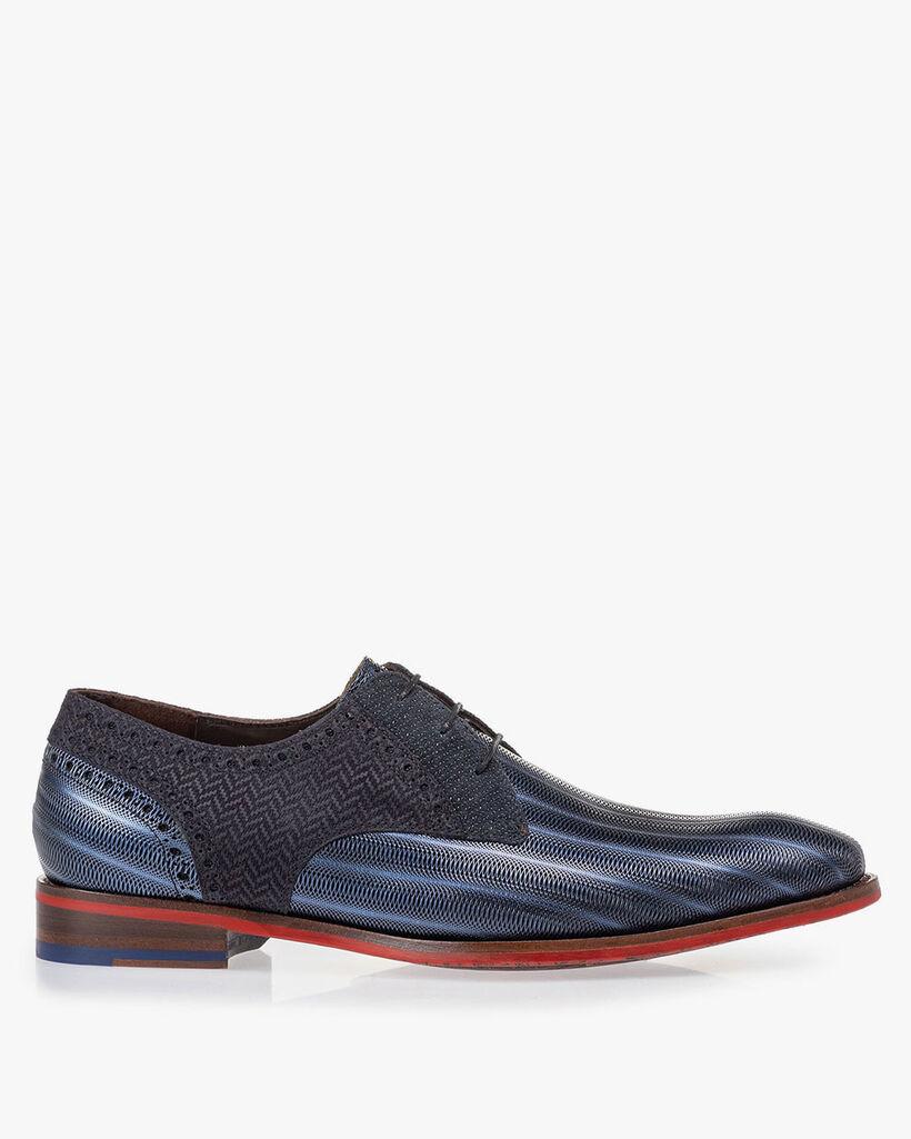 Lace shoe metallic blue